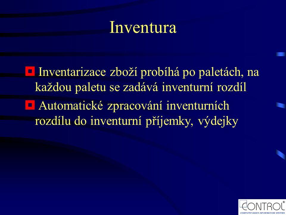 Inventura Inventarizace zboží probíhá po paletách, na každou paletu se zadává inventurní rozdíl.