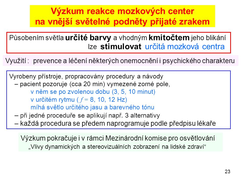 Výzkum reakce mozkových center