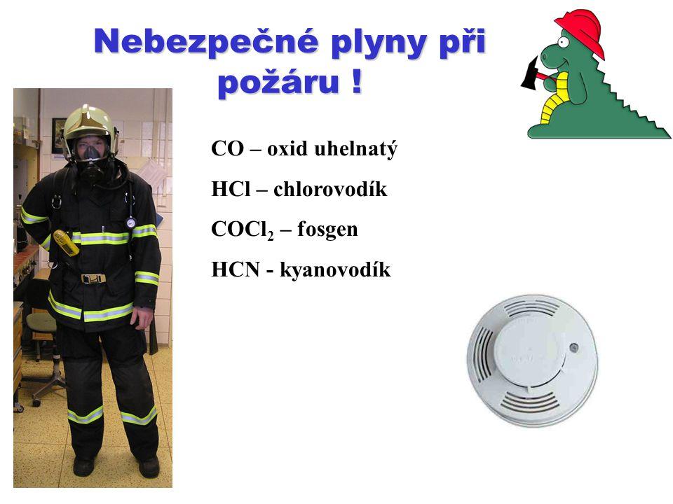 Nebezpečné plyny při požáru !