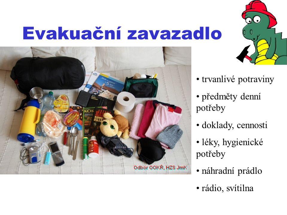 Evakuační zavazadlo trvanlivé potraviny předměty denní potřeby