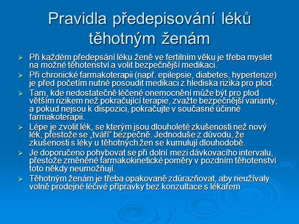 Pravidla předepisování léků těhotným ženám