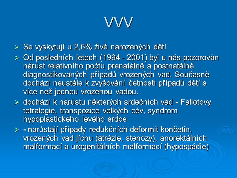 VVV Se vyskytují u 2,6% živě narozených dětí
