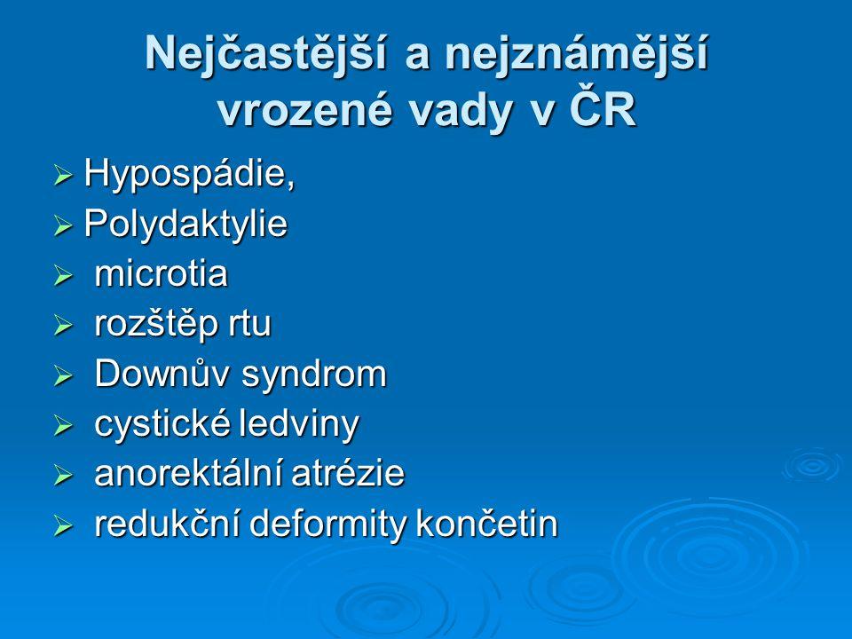 Nejčastější a nejznámější vrozené vady v ČR