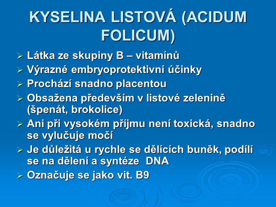 KYSELINA LISTOVÁ (ACIDUM FOLICUM)