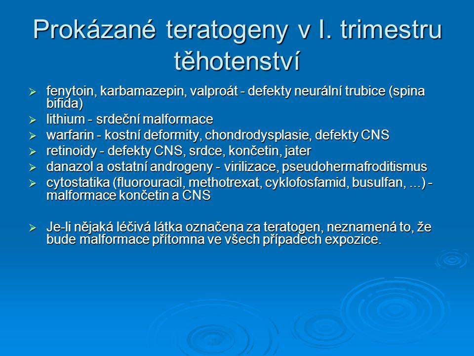 Prokázané teratogeny v I. trimestru těhotenství
