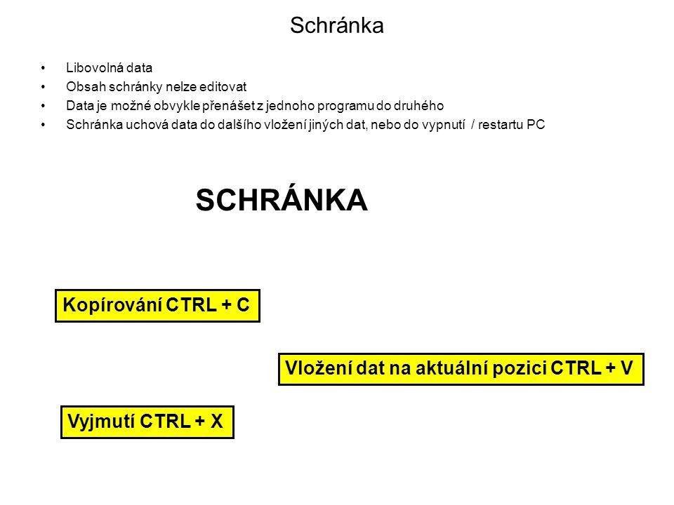 SCHRÁNKA Schránka Kopírování CTRL + C