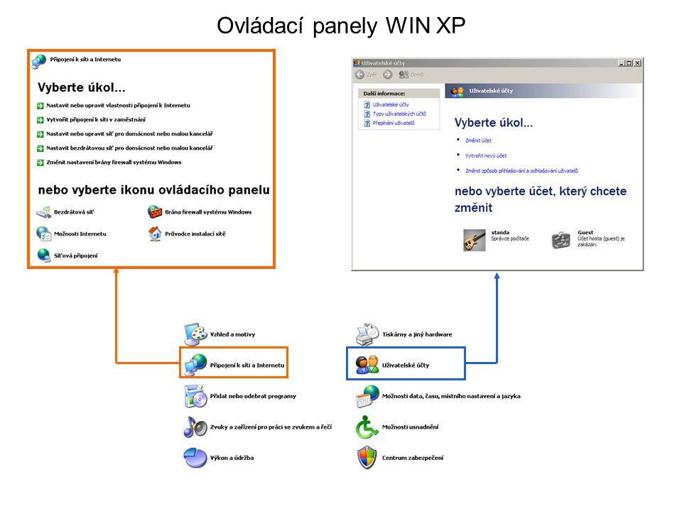 Ovládací panely WIN XP