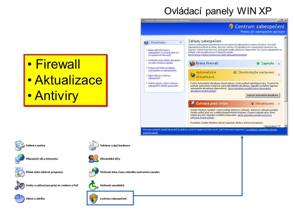 Ovládací panely WIN XP Firewall Aktualizace Antiviry