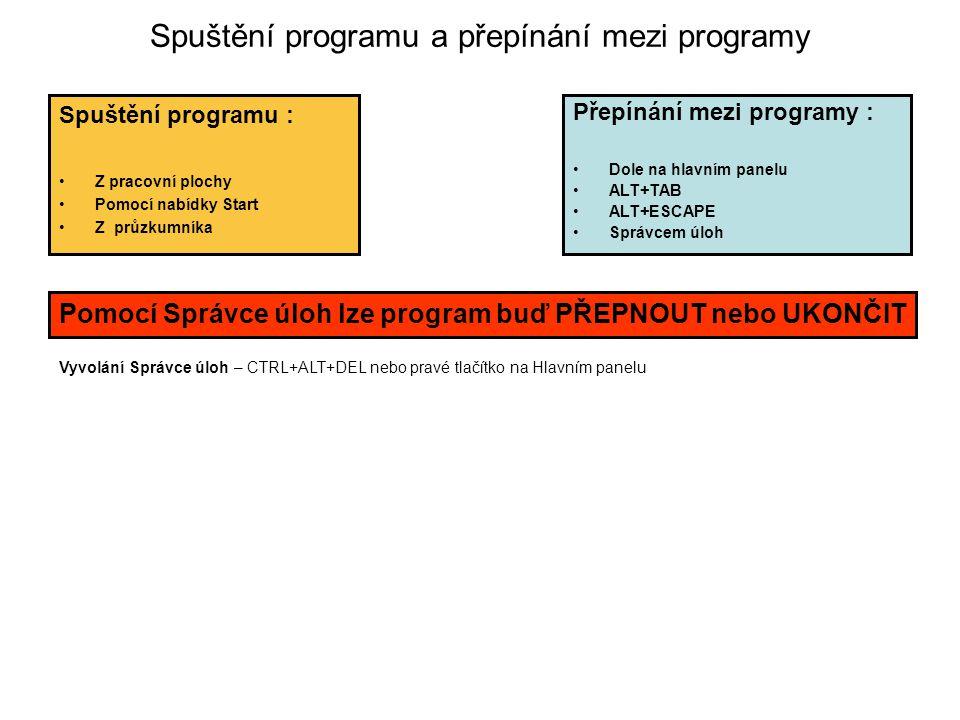 Spuštění programu a přepínání mezi programy