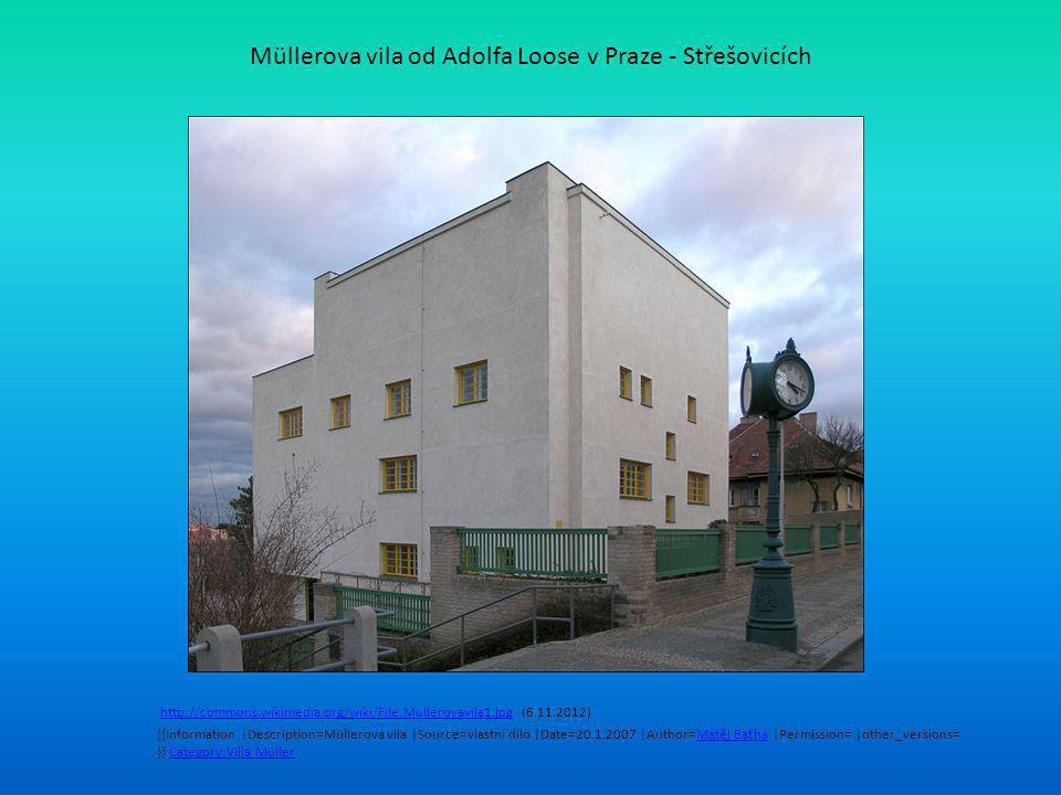 Müllerova vila od Adolfa Loose v Praze - Střešovicích