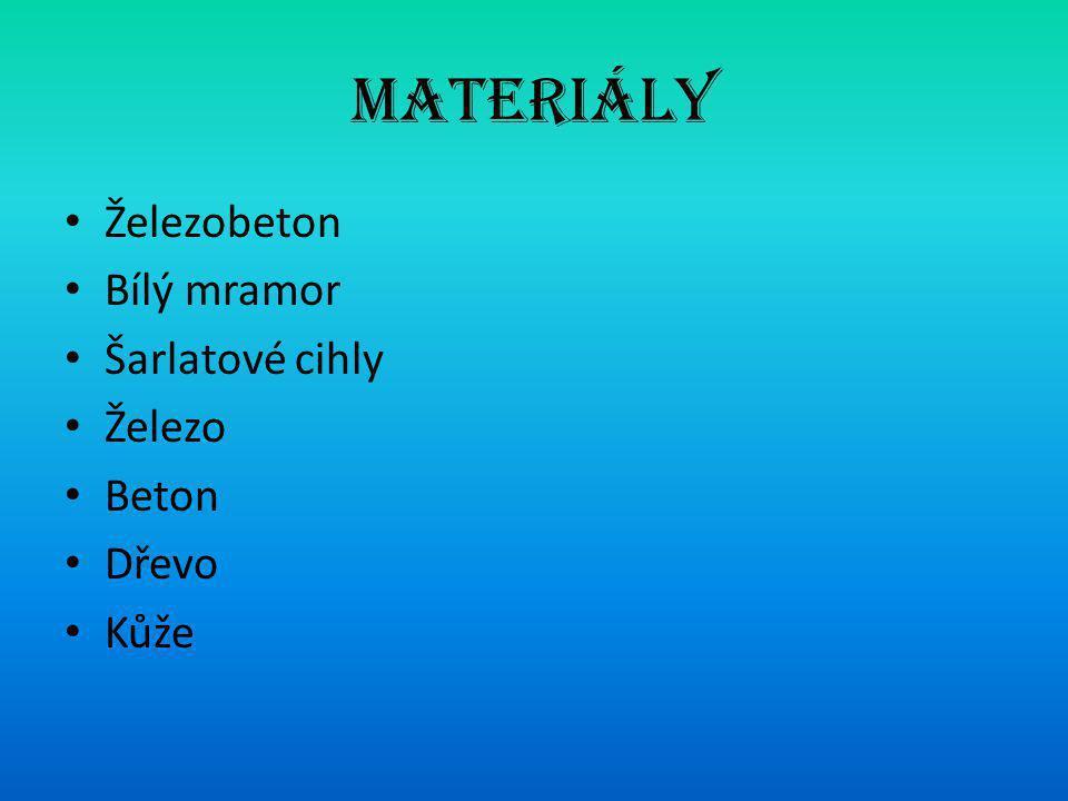 Materiály Železobeton Bílý mramor Šarlatové cihly Železo Beton Dřevo