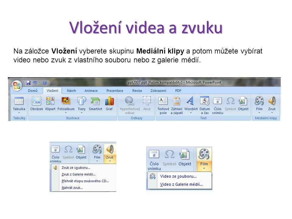 Vložení videa a zvuku