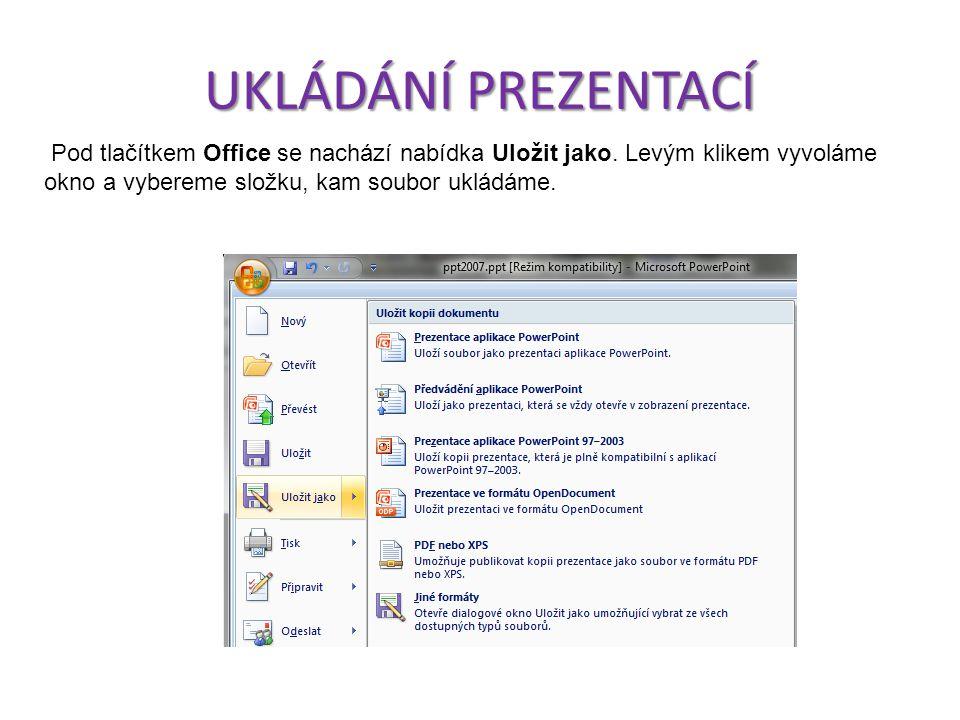 UKLÁDÁNÍ PREZENTACÍ Pod tlačítkem Office se nachází nabídka Uložit jako.