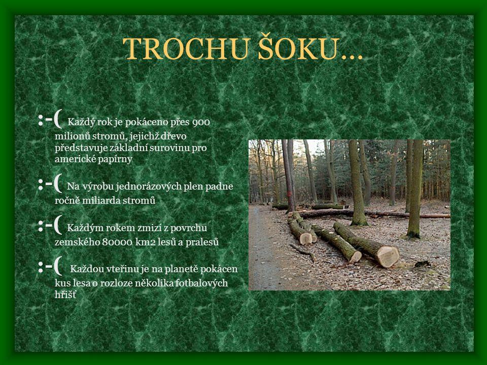 TROCHU ŠOKU... :-( Každý rok je pokáceno přes 900 milionů stromů, jejichž dřevo představuje základní surovinu pro americké papírny.