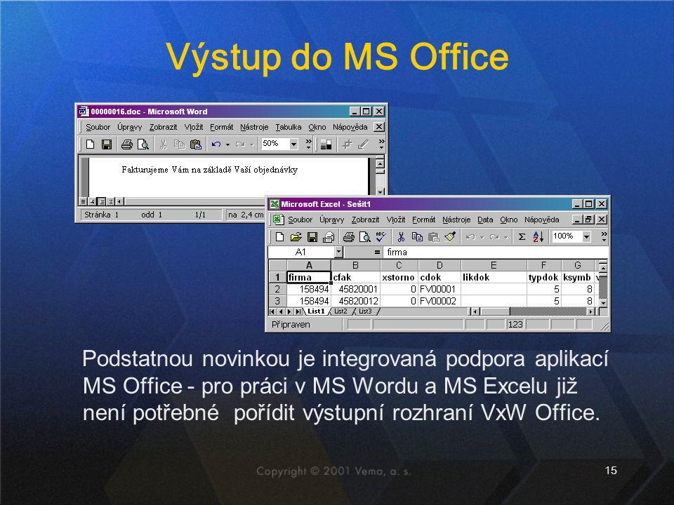 Výstup do MS Office
