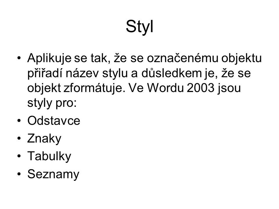 Styl Aplikuje se tak, že se označenému objektu přiřadí název stylu a důsledkem je, že se objekt zformátuje. Ve Wordu 2003 jsou styly pro:
