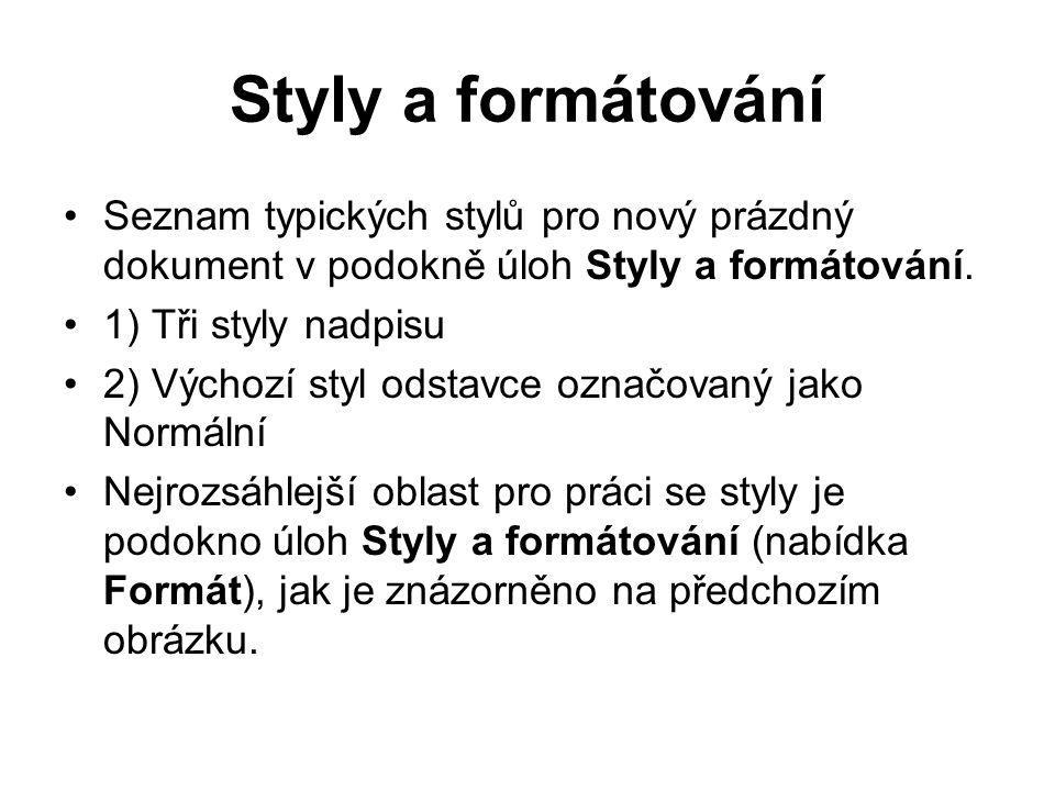 Styly a formátování Seznam typických stylů pro nový prázdný dokument v podokně úloh Styly a formátování.