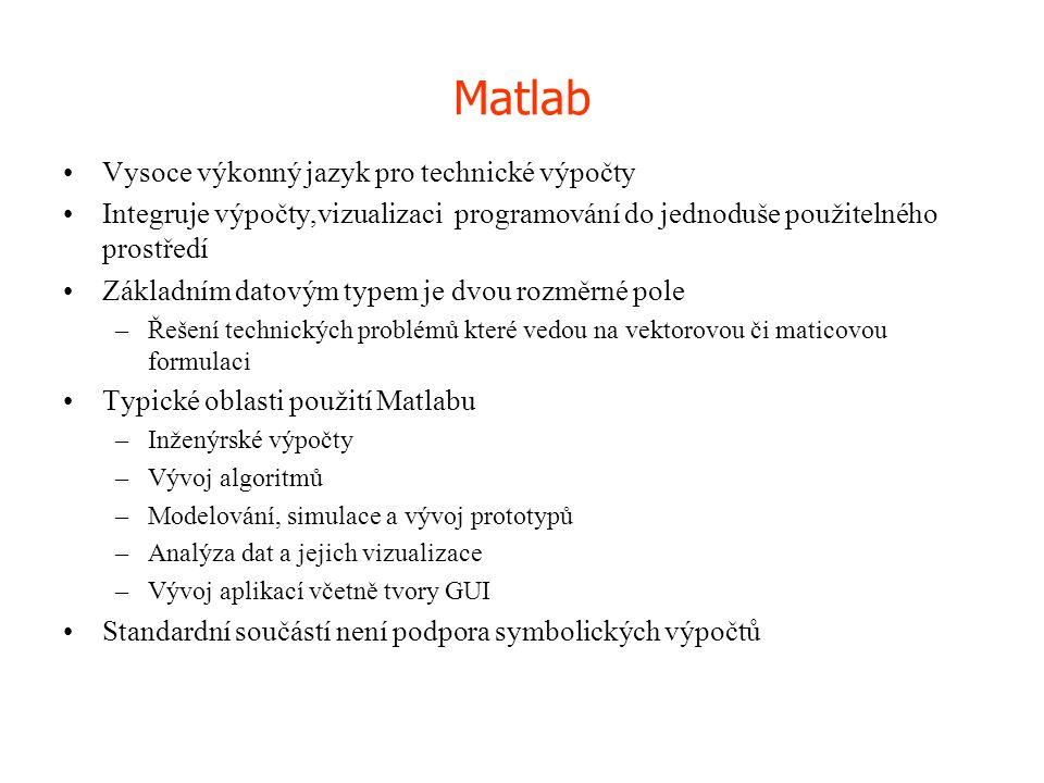 Matlab Vysoce výkonný jazyk pro technické výpočty