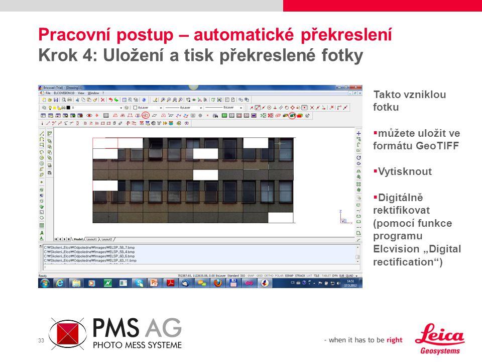 Pracovní postup – automatické překreslení