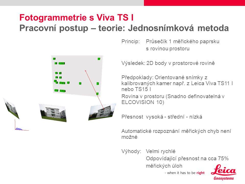 Fotogrammetrie s Viva TS I Pracovní postup – teorie: Jednosnímková metoda