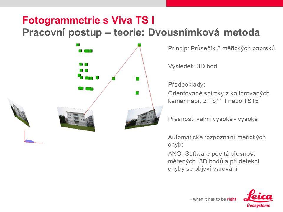 Fotogrammetrie s Viva TS I Pracovní postup – teorie: Dvousnímková metoda