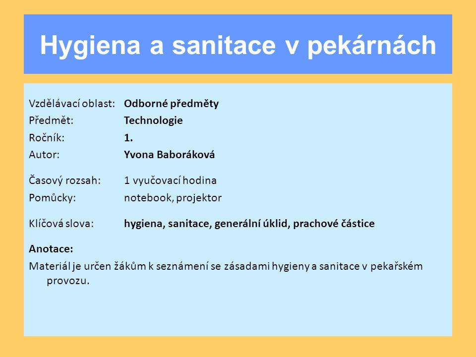 Hygiena a sanitace v pekárnách