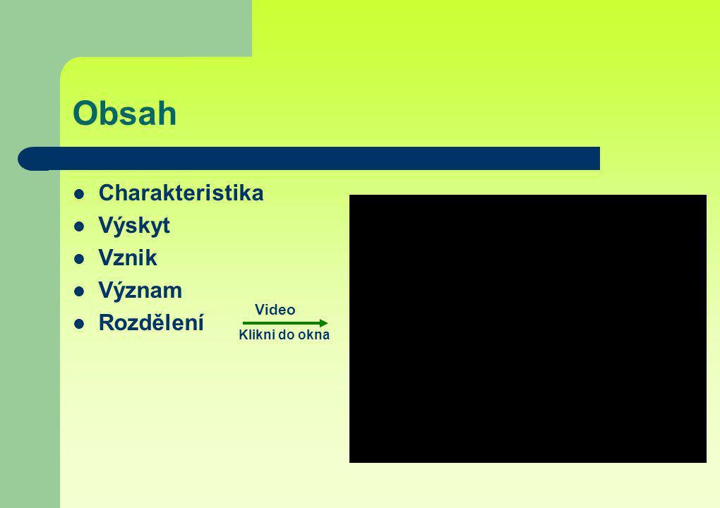 Obsah Charakteristika Výskyt Vznik Význam Rozdělení Video