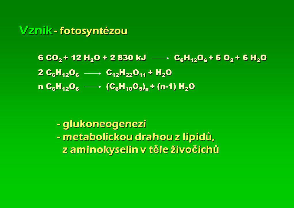 Vznik - fotosyntézou. 6 CO2 + 12 H2O + 2 830 kJ C6H12O6 + 6 O2 + 6 H2O