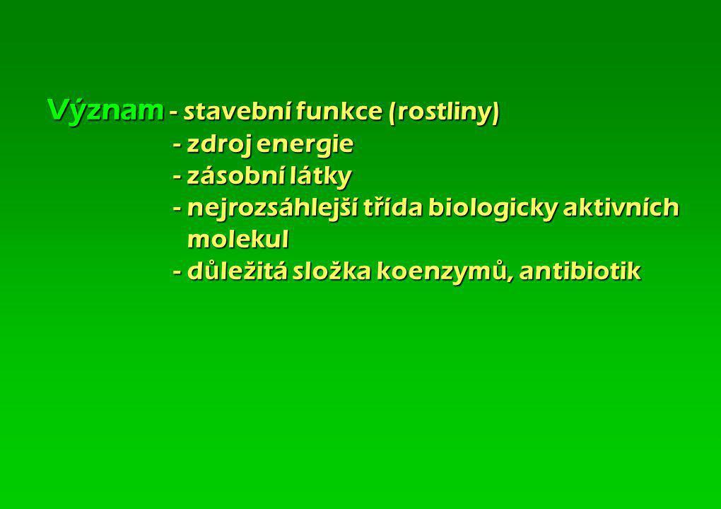 Význam - stavební funkce (rostliny). - zdroj energie. - zásobní látky