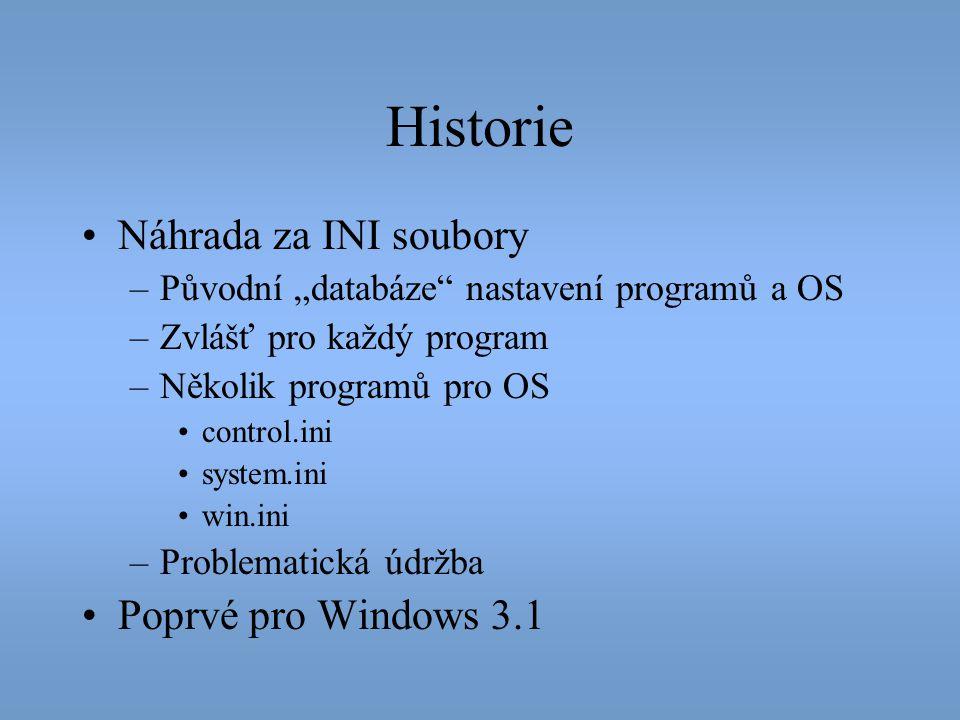 Historie Náhrada za INI soubory Poprvé pro Windows 3.1