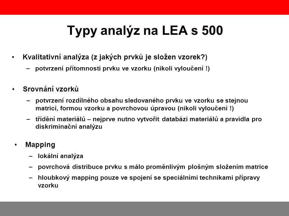 Typy analýz na LEA s 500 Kvalitativní analýza (z jakých prvků je složen vzorek ) potvrzení přítomnosti prvku ve vzorku (nikoli vyloučení !)