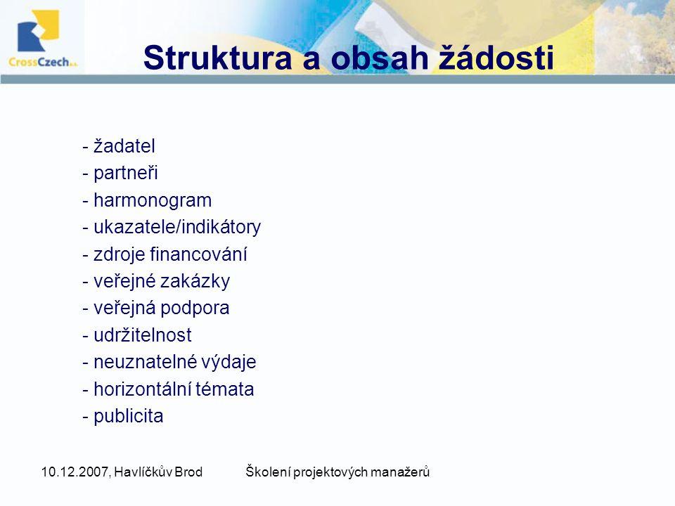 Struktura a obsah žádosti