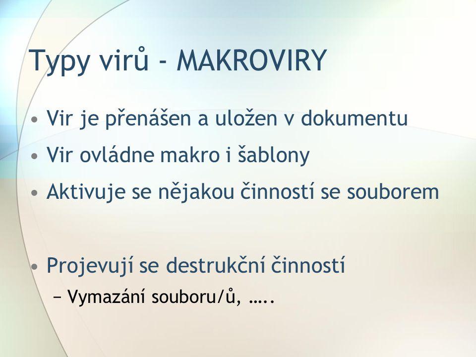 Typy virů - MAKROVIRY Vir je přenášen a uložen v dokumentu