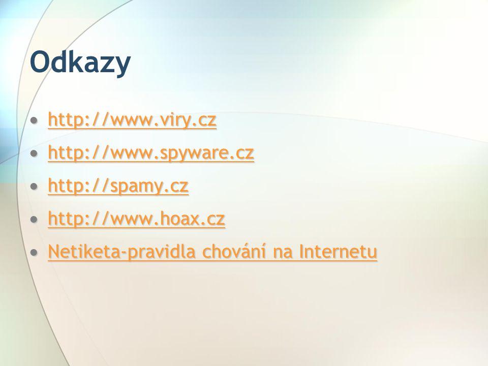 Odkazy http://www.viry.cz http://www.spyware.cz http://spamy.cz