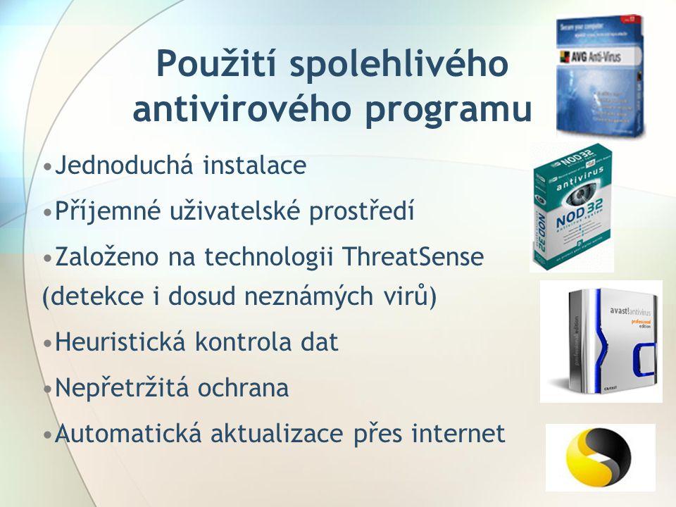 Použití spolehlivého antivirového programu