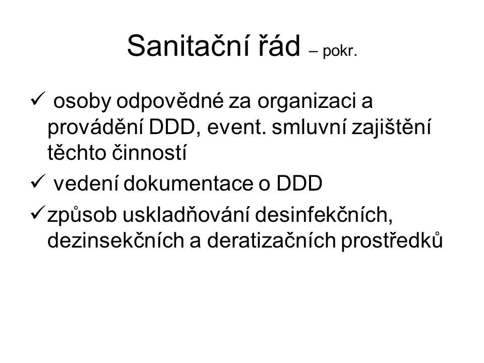Sanitační řád – pokr. osoby odpovědné za organizaci a provádění DDD, event. smluvní zajištění těchto činností.