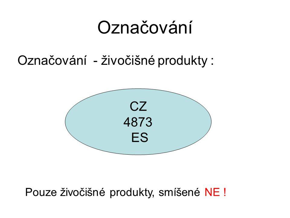 Označování Označování - živočišné produkty : CZ 4873 ES