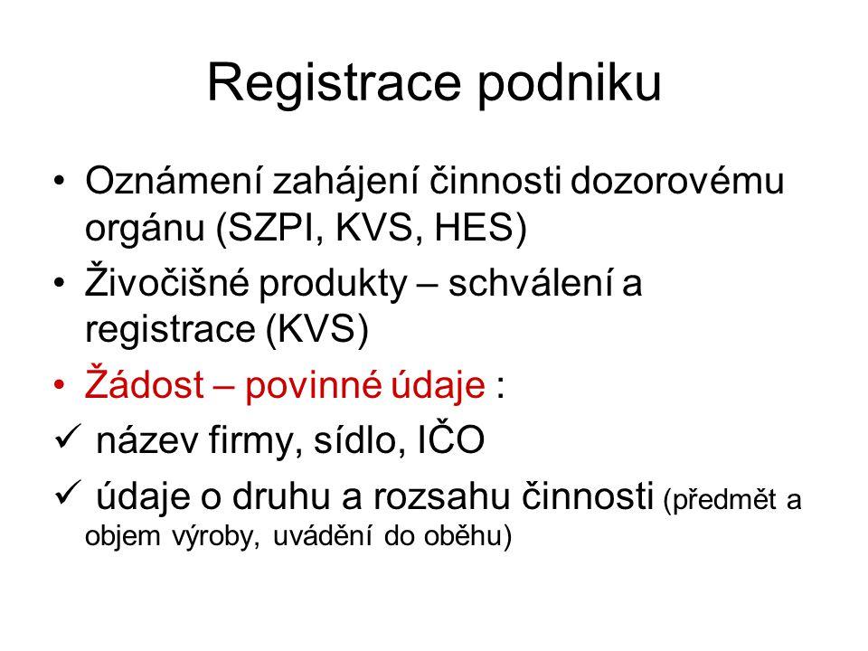 Registrace podniku Oznámení zahájení činnosti dozorovému orgánu (SZPI, KVS, HES) Živočišné produkty – schválení a registrace (KVS)