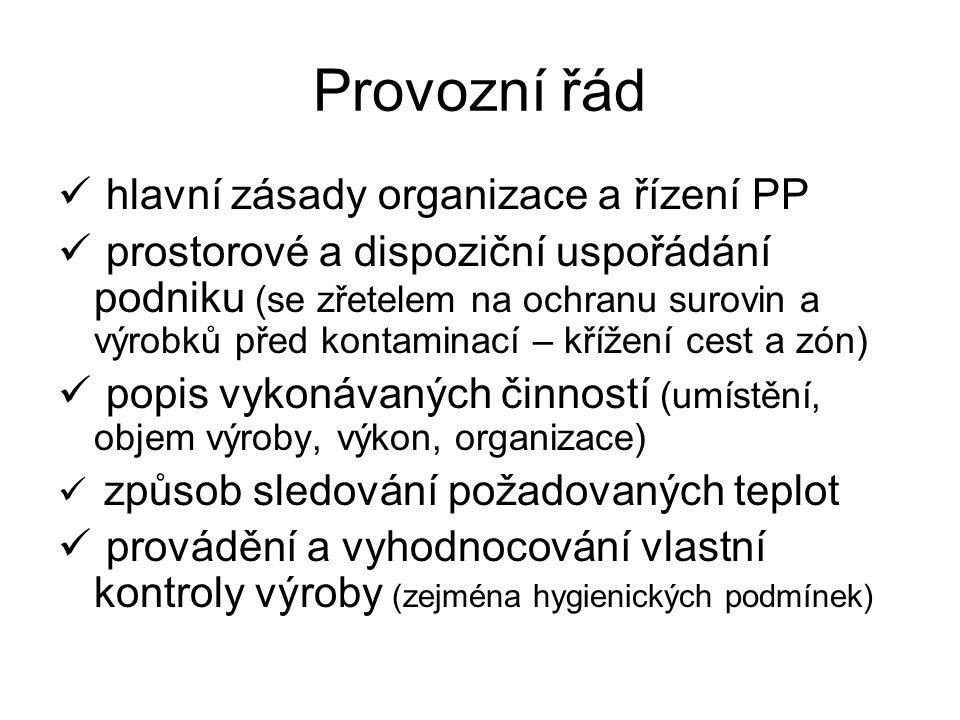 Provozní řád hlavní zásady organizace a řízení PP