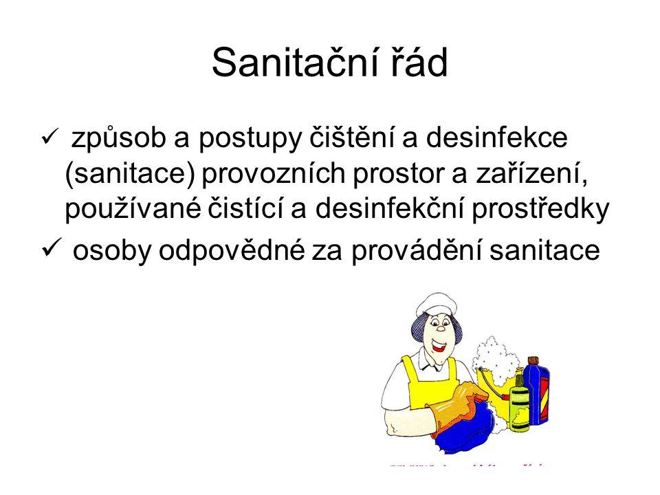 Sanitační řád osoby odpovědné za provádění sanitace