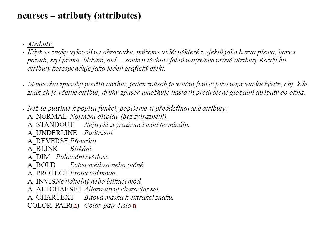 ncurses – atributy (attributes)