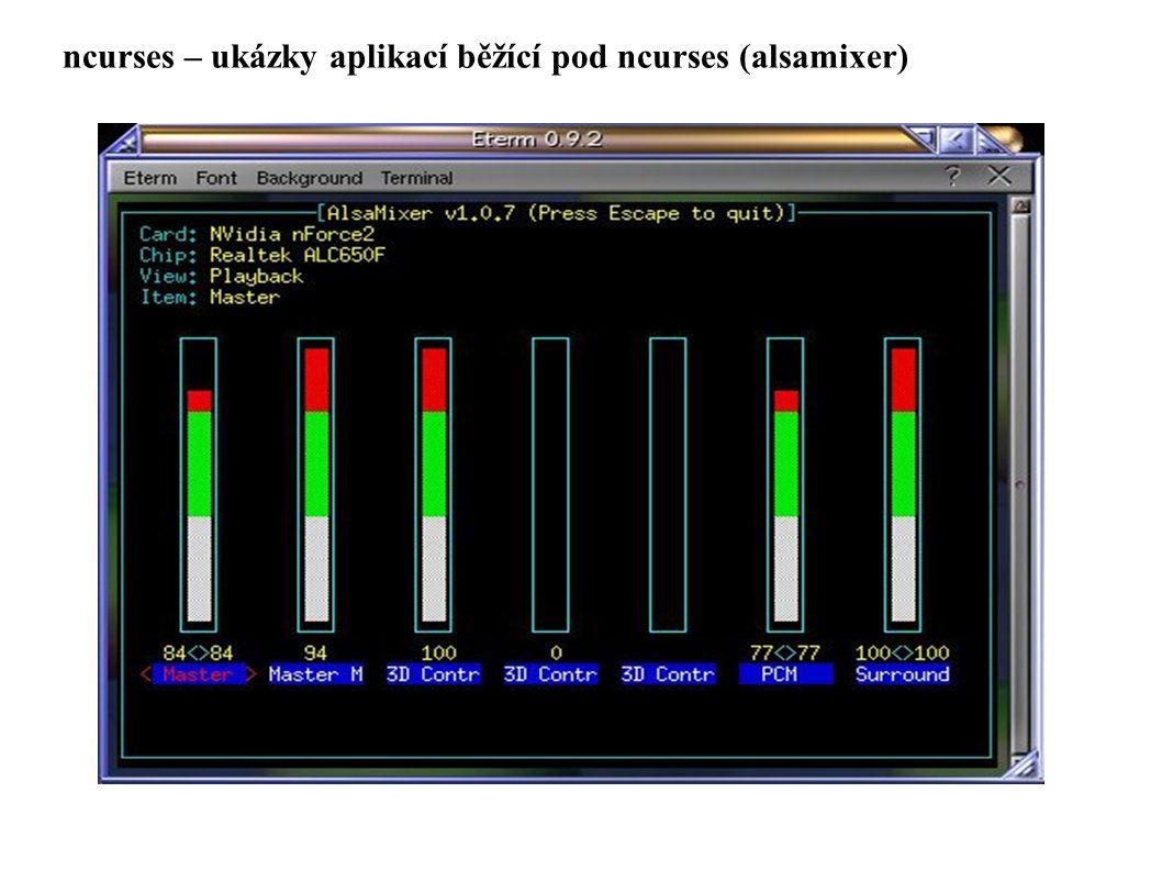 ncurses – ukázky aplikací běžící pod ncurses (alsamixer)