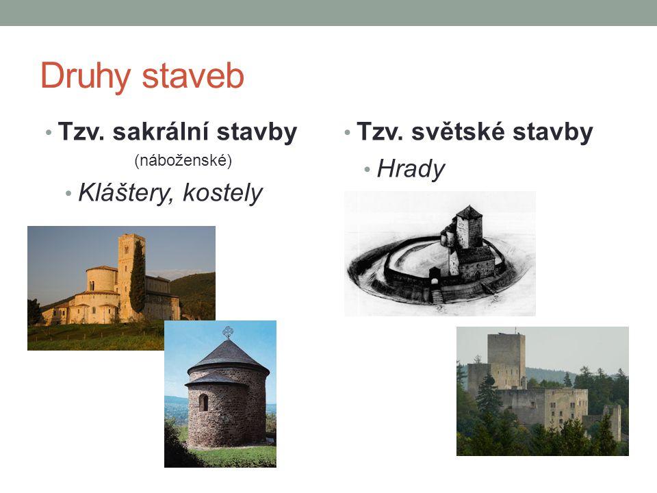 Druhy staveb Tzv. sakrální stavby Kláštery, kostely