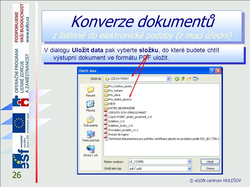 Konverze dokumentů z listinné do elektronické podoby (z moci úřední)
