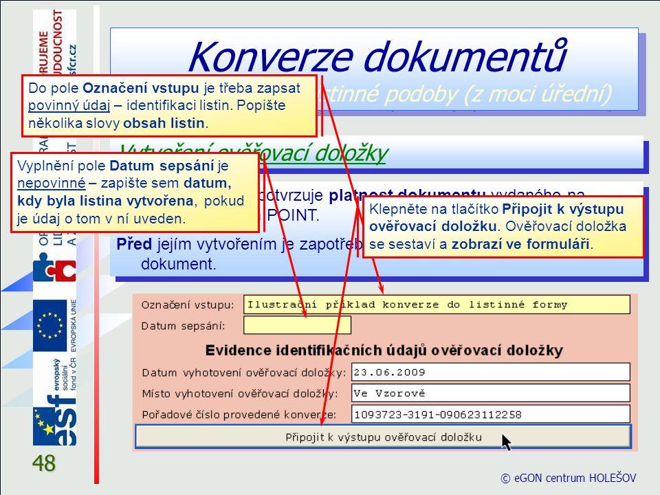 Konverze dokumentů z elektronické do listinné podoby (z moci úřední)