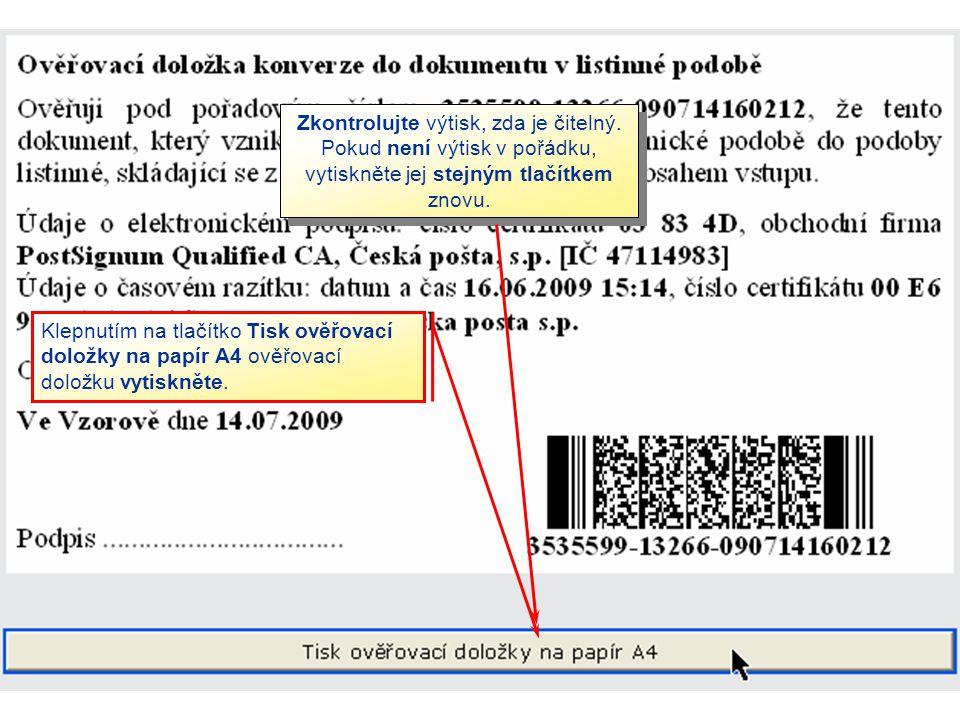 Zkontrolujte výtisk, zda je čitelný
