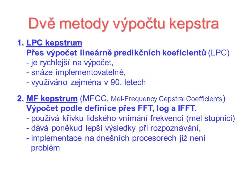 Dvě metody výpočtu kepstra