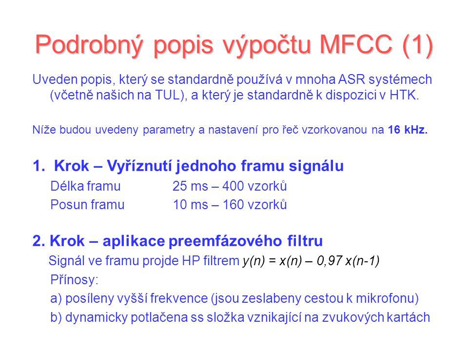 Podrobný popis výpočtu MFCC (1)