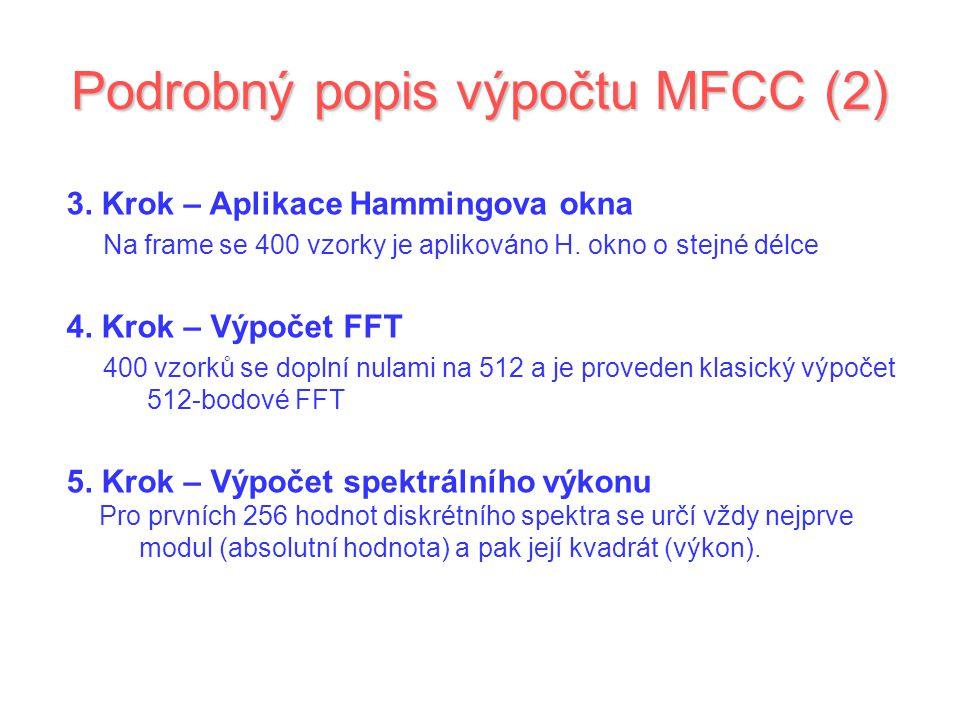 Podrobný popis výpočtu MFCC (2)