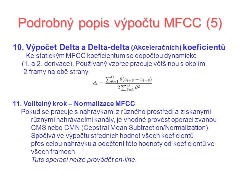 Podrobný popis výpočtu MFCC (5)